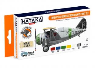 Hataka Hobby peinture laque Orange Line CS54 Set Early USN & USMC Section 6 x 17ml