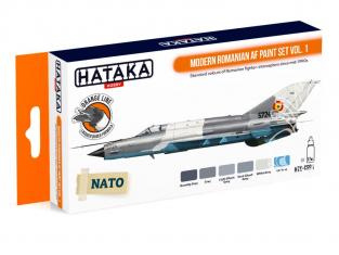 Hataka Hobby peinture laque Orange Line CS91 Set Modern Romanian AF Vol.1 6 x 17ml