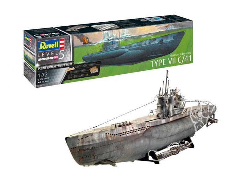 Revell sous-marin 05163 Sous-marin Allemand Type VII C/41 Version Atlantique Platinium Edition 1/72