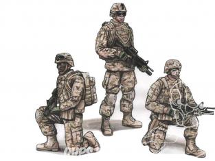 CMK Personnage resine F72343 Deux soldats agenouillés et commandant, 2e division de l'escadron d'infanterie américaine 1/72