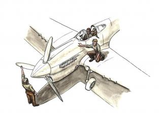Cmk kit figurine F72344 Pilote de la RAF assis dans le cockpit avec le singe sur l'épaule + 2 mécaniciens désert occidental 1/72