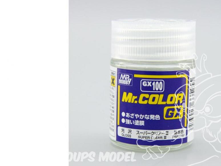 peinture maquette Mr Color GX100 Vernis brillant - Super Clear III 18ml