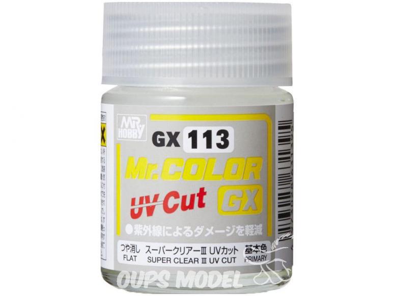 peinture maquette Mr Color GX113 Vernis mat - Super Clear III UV Cut 18ml