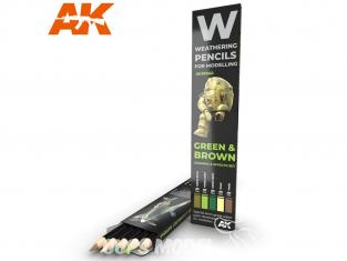Ak interactive AK10040 Set de Crayons acryliques de vieillissement Vert et Brun - Set Ombres et effets
