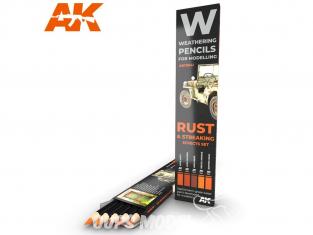 Ak interactive AK10041 Set de Crayons acryliques de vieillissement Rouille et rayures - Set Effets