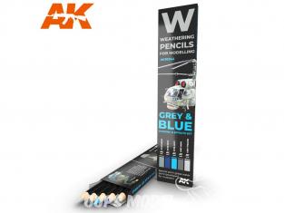 Ak interactive AK10043 Set de Crayons acryliques de vieillissement Gris et Bleu - Set Ombres et effets