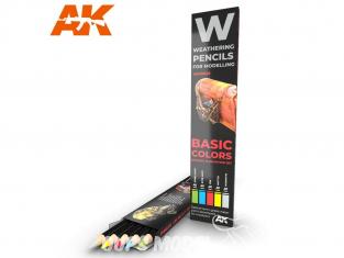 Ak interactive AK10045 Set de Crayons acryliques de vieillissement Couleurs de base - Set ombres et dégradations