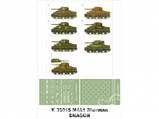 Montex Super Mask K35015 M4A1 Sherman Dragon 1/35
