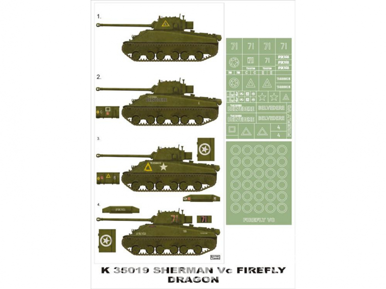 Montex Super Mask K35019 Sherman Firefly Vc Dragon 1/35