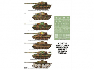 Montex Super Mask K35031 King Tiger tourelle Henschel Tamiya - Dragon 1/35