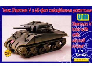 Unimodels UM maquettes militaire 468 Sherman V Tank avec 60lb roquette 1/72