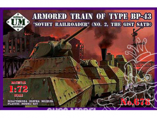 """UM maquette militaire 678 TRAIN BLINDÉ SOVIÉTIQUE du TYPE BP-43 """" FERROVIAIRE SOVIÉTIQUE"""" (N°2 GIST SATD) 1/72"""