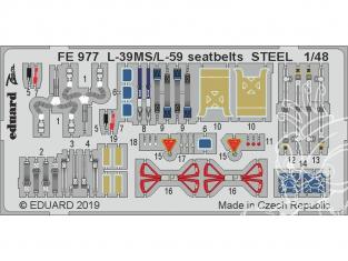 EDUARD photodecoupe avion FE977 Harnais métal L-39MS / L-59 Trumpeter 1/48