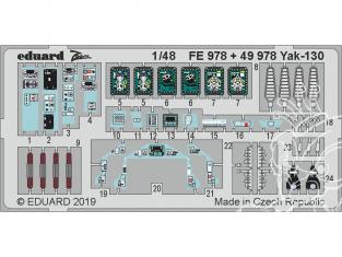 EDUARD photodecoupe avion FE978 Zoom Amélioration YAK-130 Zvezda 1/48