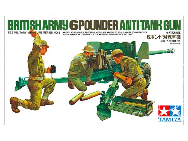 TAMIYA maquette militaire 35005 Canon britannique de 6 livres 1/35