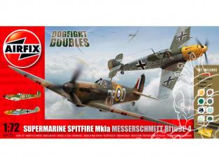 Airfix maquette avion A50135 Spitfire MkIa et Messerschmitt Bf109E-4 Dogfight Doubles Gift Set 1/72