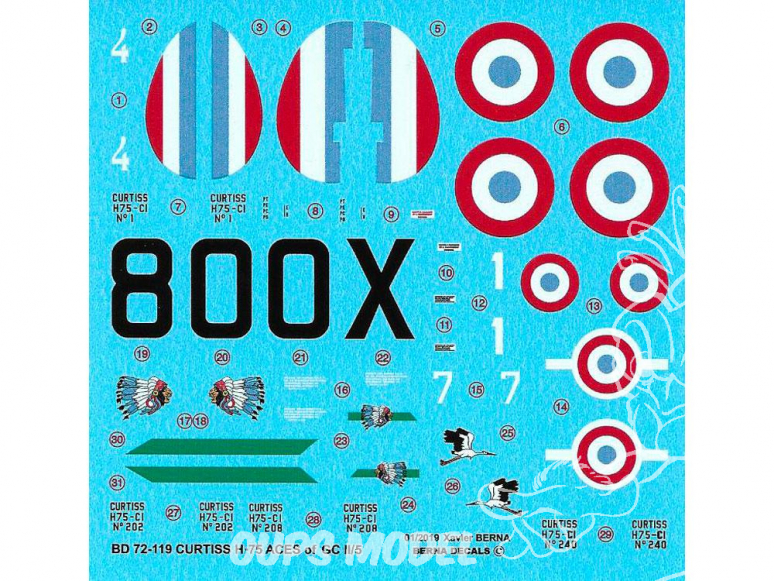 BERNA DECALS BD72-119 Curtiss H-75 Aces of GcII/5 1/72