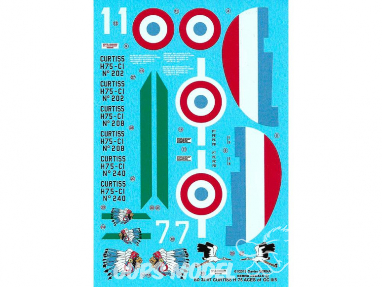 DECALQUES BERNA DECALS BD32-57 Curtiss H-75 Aces of GcII/5 1/32