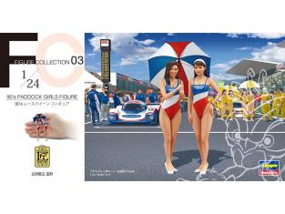 Hasegawa maquette voiture 29103 90's Paddock Girls Figurine (jeu de 2 pièces) 1/24