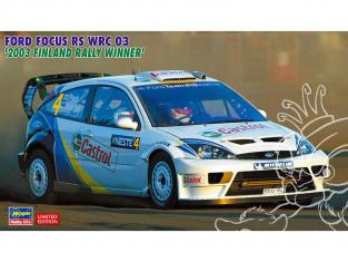 """Hasegawa maquette voiture 20380 Ford Focus RS WRC """"Vainqueur du Rallye de Finalnde 2003"""" 1/24"""