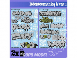 Green Stuff 503678 Decalcomanies a l'eau - Mix Trenes et Graffitis - Argent et Or