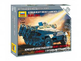 Zvezda maquette militaire 6243 SD.KFZ. 251/1 AUSF.B Hanomag avec des lanceurs 1/100