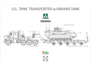 Takom maquette militaire 5002X ENSEMBLE US M1070 et M1000 TANK 70 ton avec REMORQUE et CHAR M1A2 ABRAMS 2016 1/72