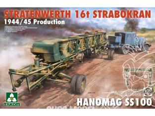 "Takom maquette militaire 2124 GRUE STRATENWERTH 16t ""STRABOKRAN"" 1944/1945 Prod.et TRACTEUR HANOMAG SS100 1/35"