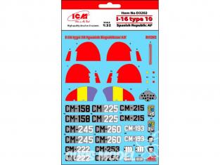 Icm decalques D3202 Marquages I-16 type 10 République espagnole AF 1/32