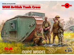 Icm maquette figurines 35708 WWI équipage Britannique de char (4 figurines) (100% de nouveaux moules) 1/35