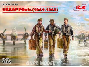 Icm maquette figurines 32104 USAAF Pilotes (1941-1945) 3 personnages (100% de nouveaux moules) 1/32