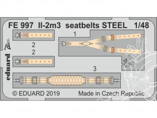 EDUARD photodecoupe avion FE997 Harnais métal IL-2m3 Tamiya 1/48
