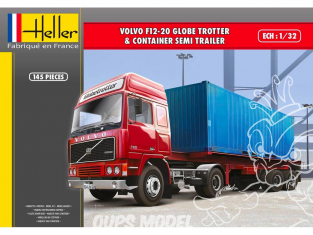 Heller maquette camion 81702 Volvo F12-20 Globetrotter et Remorque porte Container 1/32