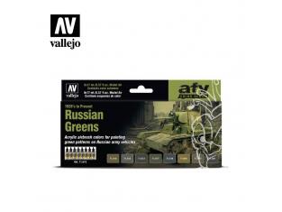 Vallejo Set Afv Color series 71613 Verts russes (1928 à nos jours) 8x17ml