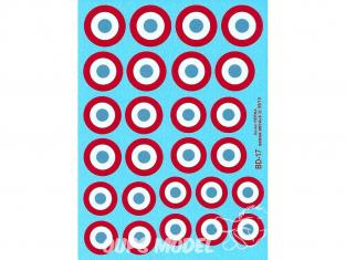 Decalques Berna decals BD-17 Cocardes Francaises 35-40 17-22mm