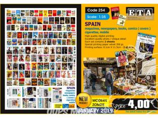 ETA diorama 254 Magasine journeaux livres bd cigarettes mobiles Espagne 1/35