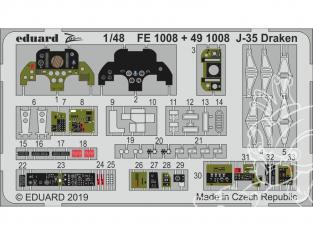 EDUARD photodecoupe avion 491008 Intérieur J-35 Draken Hasegawa 1/48
