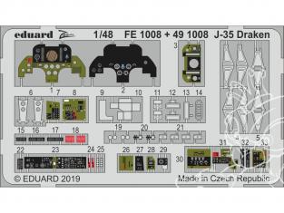 EDUARD photodecoupe avion FE1008 Zoom Intérieur J-35 Draken Hasegawa 1/48