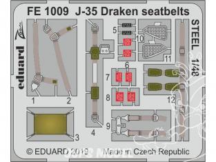 EDUARD photodecoupe avion FE1009 Harnais métal J-35 Draken Hasegawa 1/48