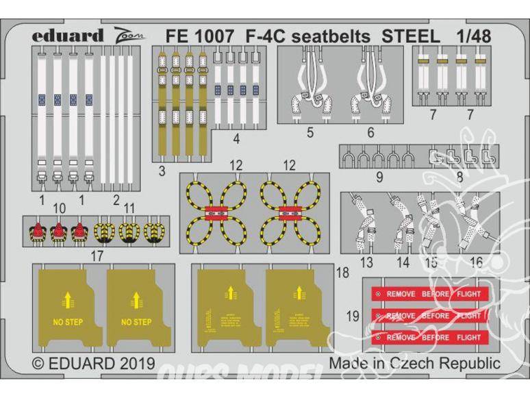 EDUARD photodecoupe avion FE1007 Harnais métal F-4C Academy 1/48