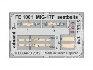 EDUARD photodecoupe avion FE1001 Harnais métal MiG-17F Hobby Boss 1/48