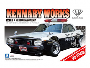Aoshima maquette voiture 10686 LB Works KEN MARY 4Dr Skyline Police Voiture patrouille - Liberty Walk 1/24