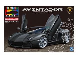 Aoshima maquette voiture 27387 Lamborghini Aventador LP700-4 (Pré-peint Nero Nemesis) 1/24