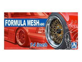 """Aoshima maquette voiture 53256 Jantes Formula Mesh (4h) 14"""" et pneus 1/24"""