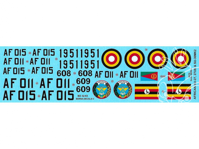 DECALQUES BERNA DECALS BD32-63 Sukhoi SU-27 et 30 Africa 1/32