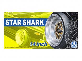 """Aoshima maquette voiture 52587 Jantes Sat Shark 14"""" et pneus 1/24"""