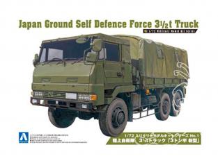Aoshima maquette militaire 02322 JAPAN AUTO-DEFENSE FORCE 3 CAMION 1 / 2T 1/72