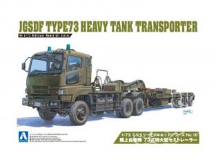 Aoshima maquette militaire 09970  JGSDF TYPE73 TRANSPORTEUR DE CHAR LOURD 1/72