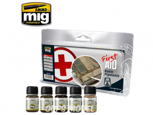 MIG weathering 7448 Set premiers secours - Pigments basiques 5 x 35ml