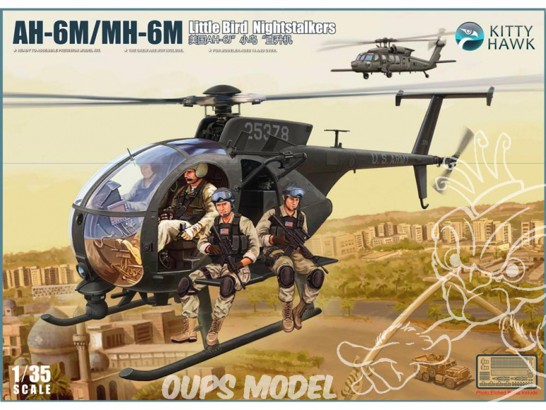 "Kitty Hawk maquette hélicoptère kh50004 H-6J/MH-6J ""LITTLE BIRD"" avec figurines 1/35"